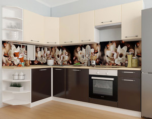 Кухня Ксения 3,9м угловая ваниль/шоколад, глянец