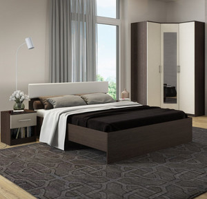 Спальня Светлана 140 венге/молочный дуб +матрас