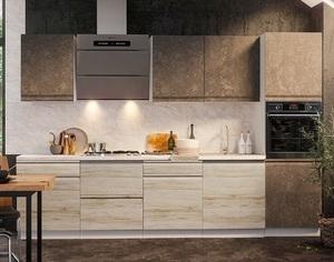Кухня Бруклин 3,0м бетон коричневый/клен скандинавский