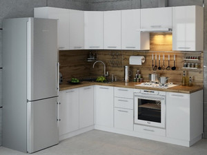 Кухня Ксения 3,8м угловая белый, глянец