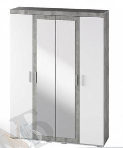 Шкаф Инстайл 4-х створчатый, белый/метрополитан грей