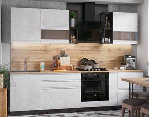 Кухня Бруклин 2,8м бетон белый (с полками Лофт)