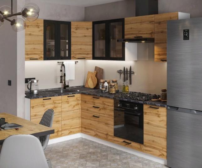 Кухня Дакота 4,0м угловая, дуб вотан/бетон графит