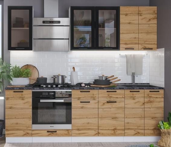 Кухня Дакота 2,4м, дуб вотан/бетон графит