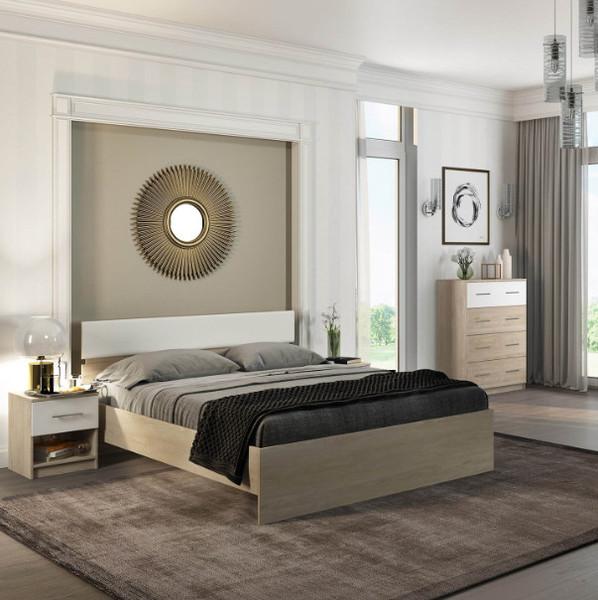 Спальня Светлана 140 сонома/белый +матрас