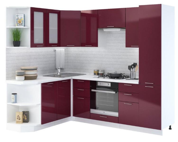 Кухня Ксения 4,1м угловая бордо, глянец