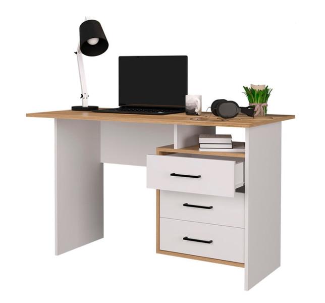 Компьютерный стол Лайт белый/дуб золотой