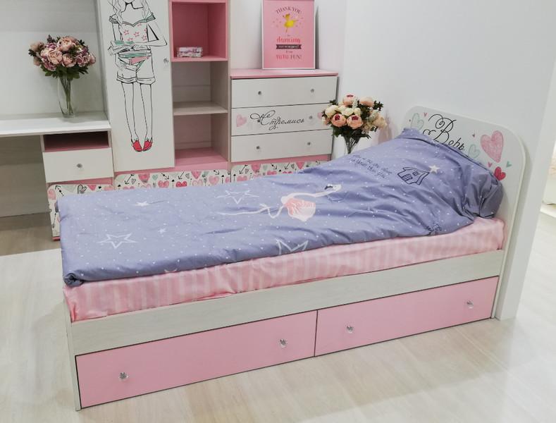Кровать Малибу 80*186см с ящиками +матрас