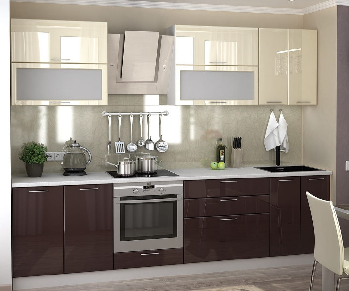 Кухня Ксения 2,8м ваниль/шоколад*
