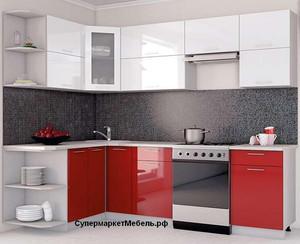 Кухня Ксения 4,0м угловая белый/красный