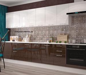 Кухня Люкс 3,5м белый/шоколад, глянец