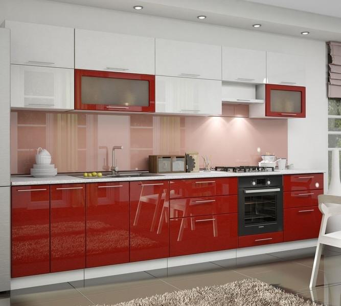 Кухня Ксения 3,1м белый/красный, глянец