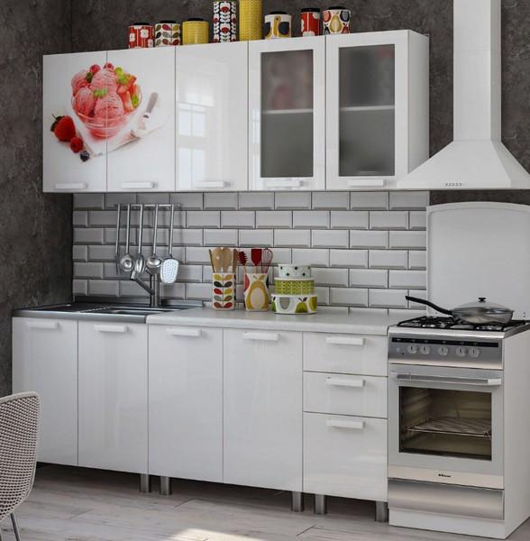 Кухня Айс крим 2,0м белый/фотопечать айскрим