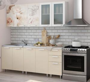 Кухня Латте 2,0м крем/белый, глянец