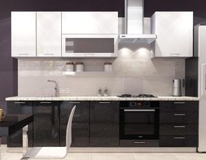 Кухня София 2,7м белый/черный, металлик