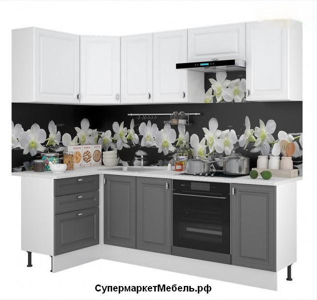 Кухня Ева 3,6м угловая белый/графит