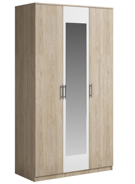 Шкаф Светлана 3двери, зеркало, сонома/белый