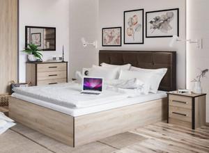 Кровать мягкая Лирика ЛК2 160*200 сонома/велюр кофейный