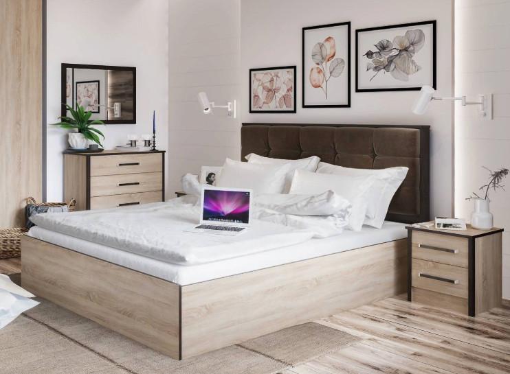 Кровать Лирика ЛК2 140*200 сонома/велюр кофейный +матрас