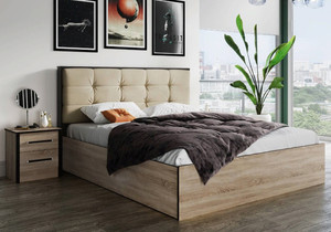 Кровать Лирика ЛК2 140*200 сонома/велюр карамель +матрас