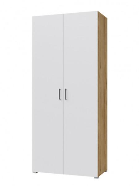 Шкаф Лайт 900 2двери, белый/дуб золотой