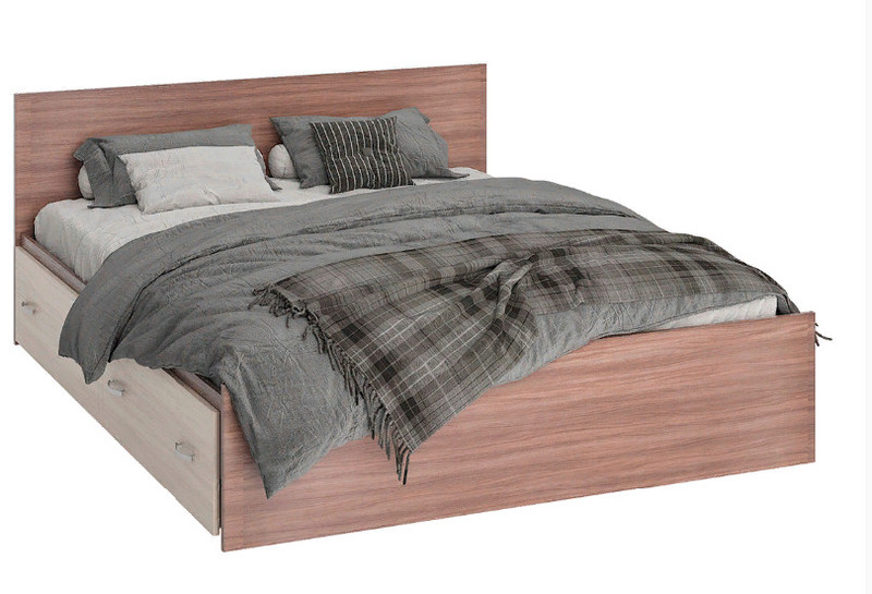 Кровать Ронда КР4Я 140*200см с ящиками, ясень