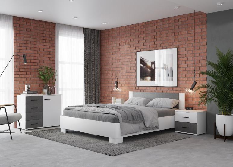 Спальня Нова140, белый/бетон (q6)