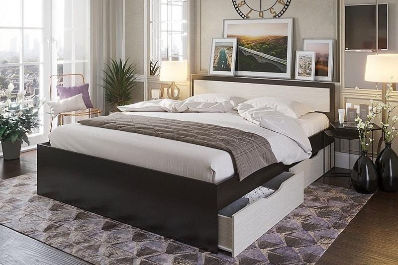 Кровать Гармония 160*200см венге/белфорд с ящиками +матрас