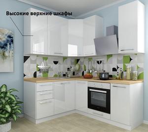 Кухня Ксения 3,6м угловая белый, глянец