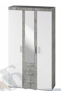 Шкаф Инстайл 3-х створчатый с ящиками, белый/метрополитан грей