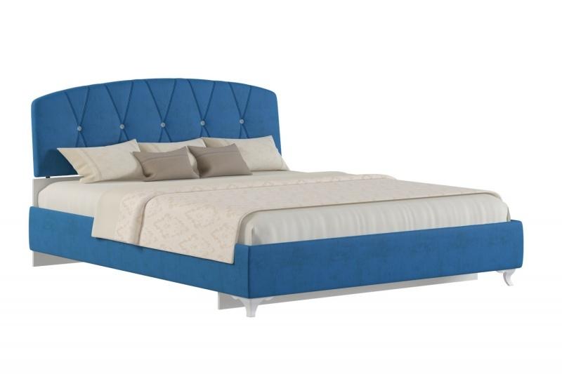 Кровать Аделина 160*200см синий +матрас