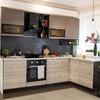 Кухня Бруклин 4,0м угловая, бетон коричневый/клен сканд.